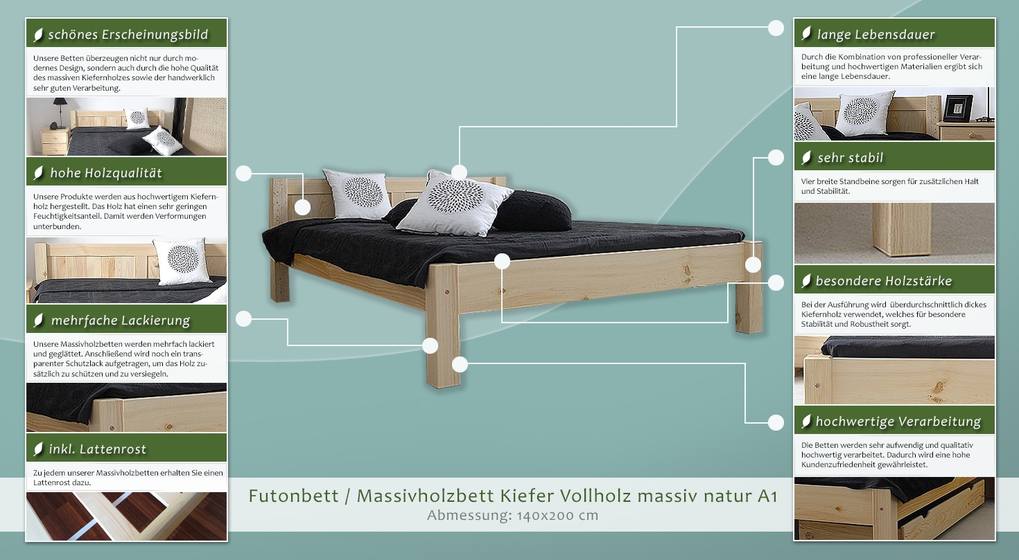 holzbett 140 x 200 cm kiefer massiv natur mit lattenrost h he cm 70 matratzenma e b x l cm. Black Bedroom Furniture Sets. Home Design Ideas