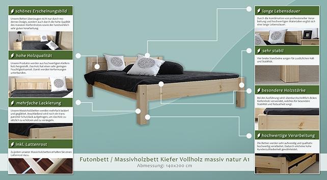 bett kiefer massiv 140 x 200 cm natur h he cm 70. Black Bedroom Furniture Sets. Home Design Ideas