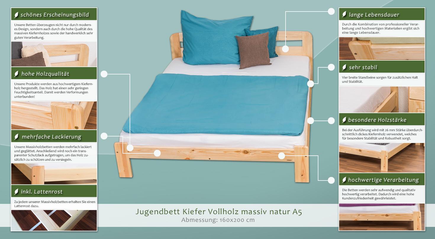 kiefer massivholzbett 160 x 200 cm natur h he cm 70 50 l nge tiefe cm 206 breite cm 167. Black Bedroom Furniture Sets. Home Design Ideas