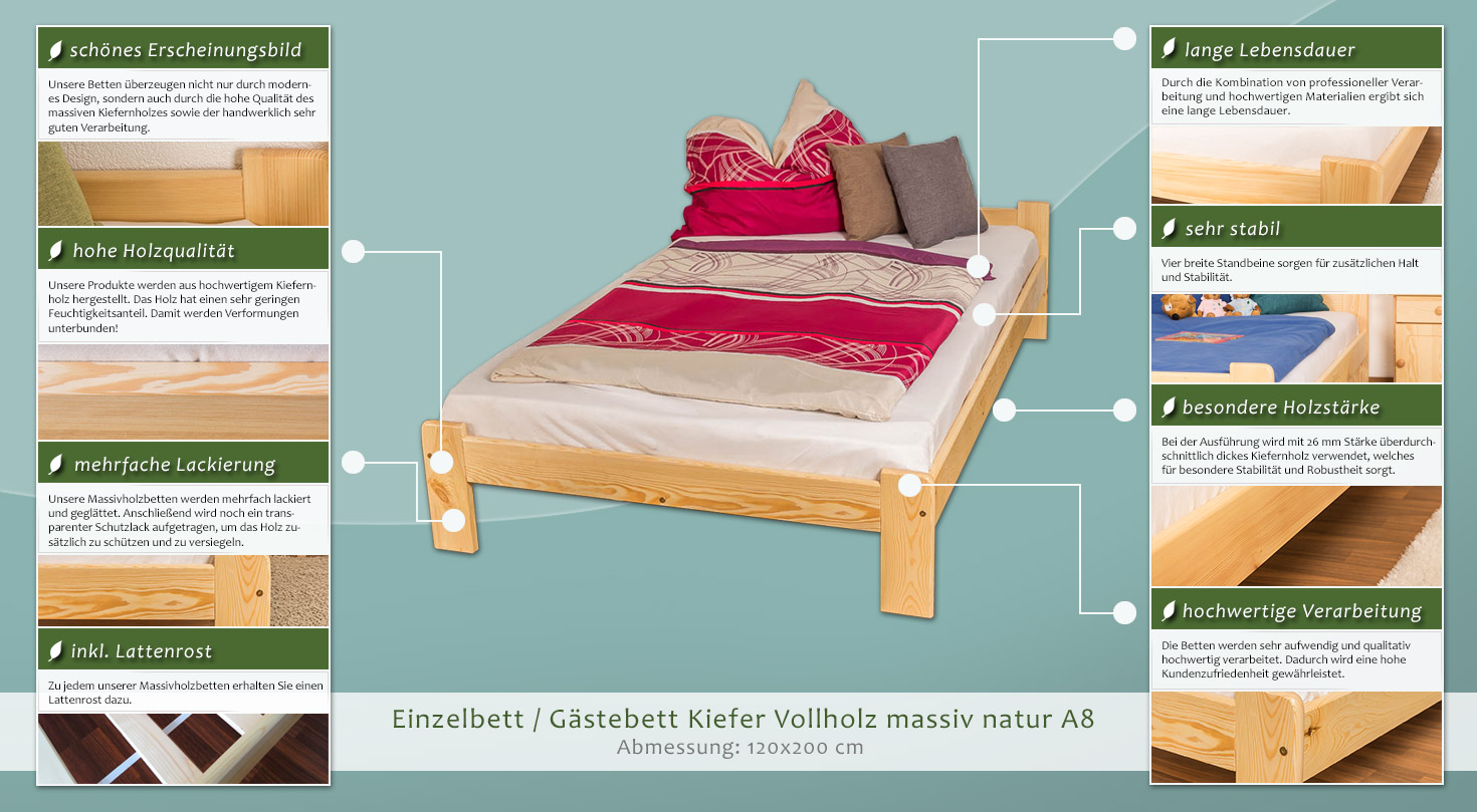 futonbett kiefer 120 x 200 cm natur mit lattenrost h he cm 70 50 matratzenma e b x l cm. Black Bedroom Furniture Sets. Home Design Ideas