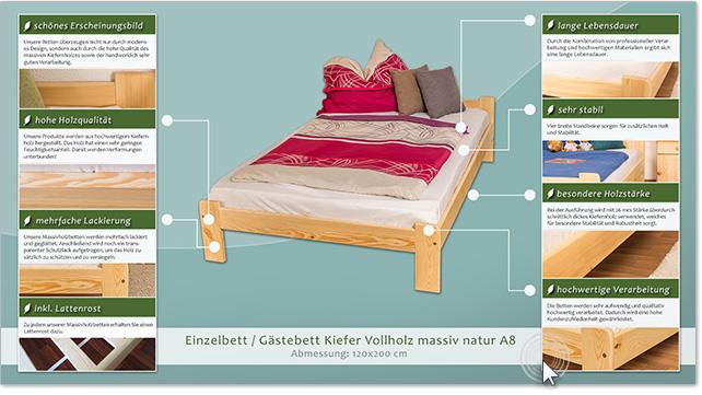 bett 120 x 200 cm kiefer massiv natur h he cm 70 50 matratzenma e b x l cm 160 x 200. Black Bedroom Furniture Sets. Home Design Ideas