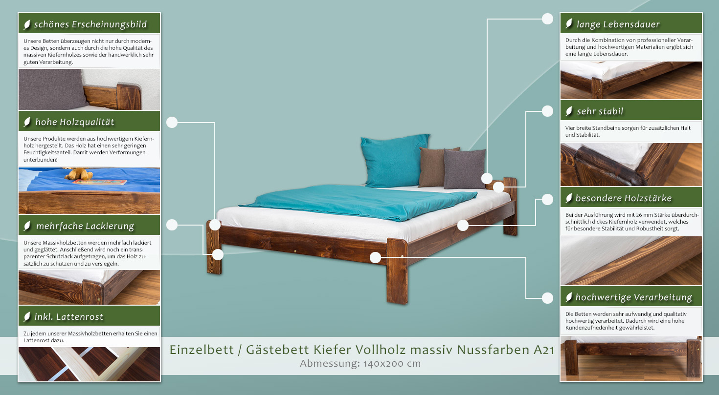 bett 140 x 200 cm kiefer nuss mit lattenrost h he cm 50 l nge tiefe cm 205 breite cm. Black Bedroom Furniture Sets. Home Design Ideas