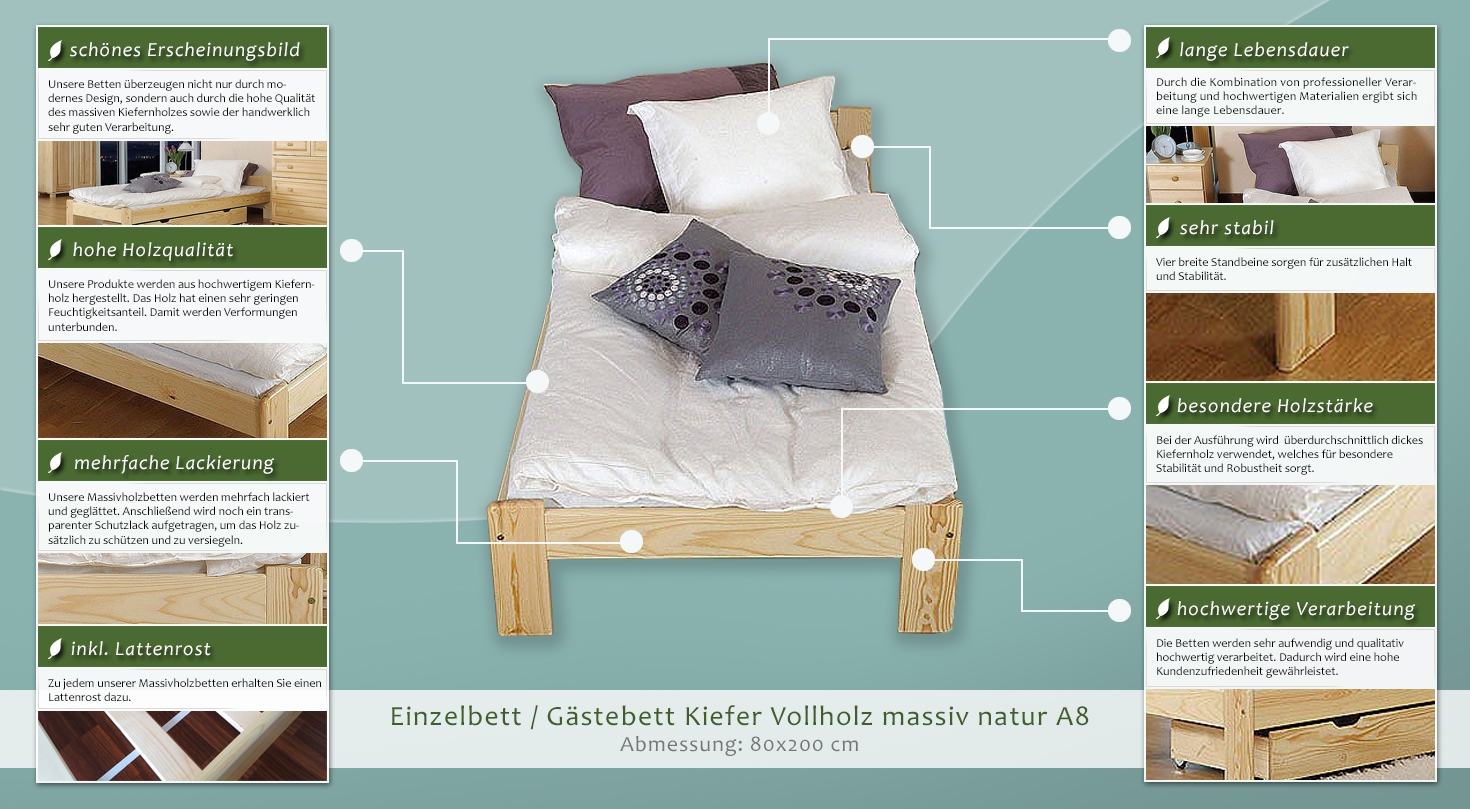 einzelbett g stebett kiefer vollholz massiv natur a8 inkl lattenrost abmessungen 80 x 200 cm. Black Bedroom Furniture Sets. Home Design Ideas