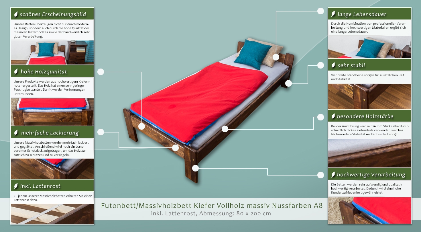 futonbett kiefer 80 x 200 cm nuss h he cm 50 matratzenma e b x l cm 80 x 200 massivholz. Black Bedroom Furniture Sets. Home Design Ideas