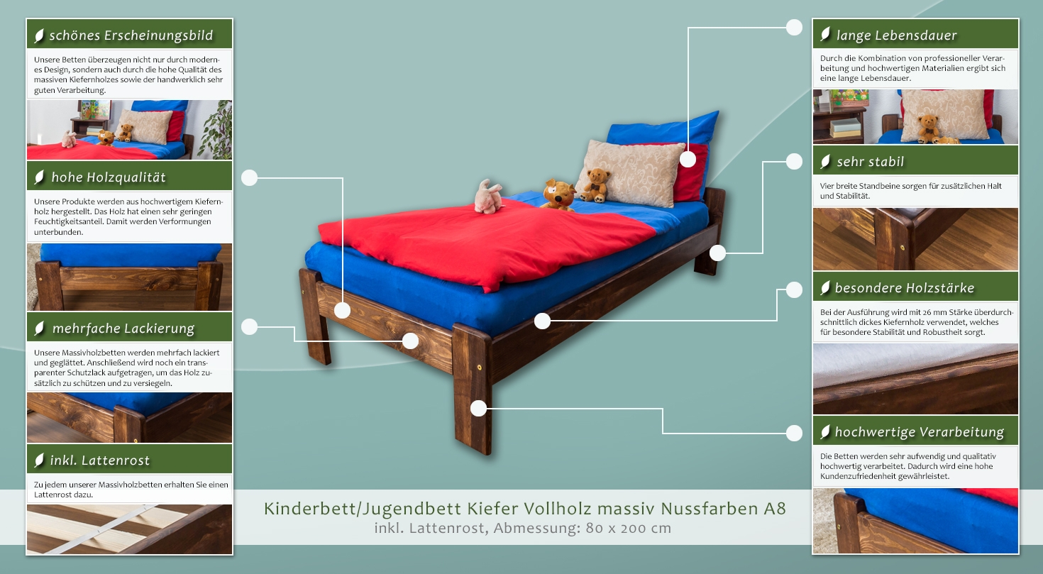 kinderbett jugendbett kiefer vollholz massiv nussfarben a8 inkl lattenrost abmessungen 80. Black Bedroom Furniture Sets. Home Design Ideas