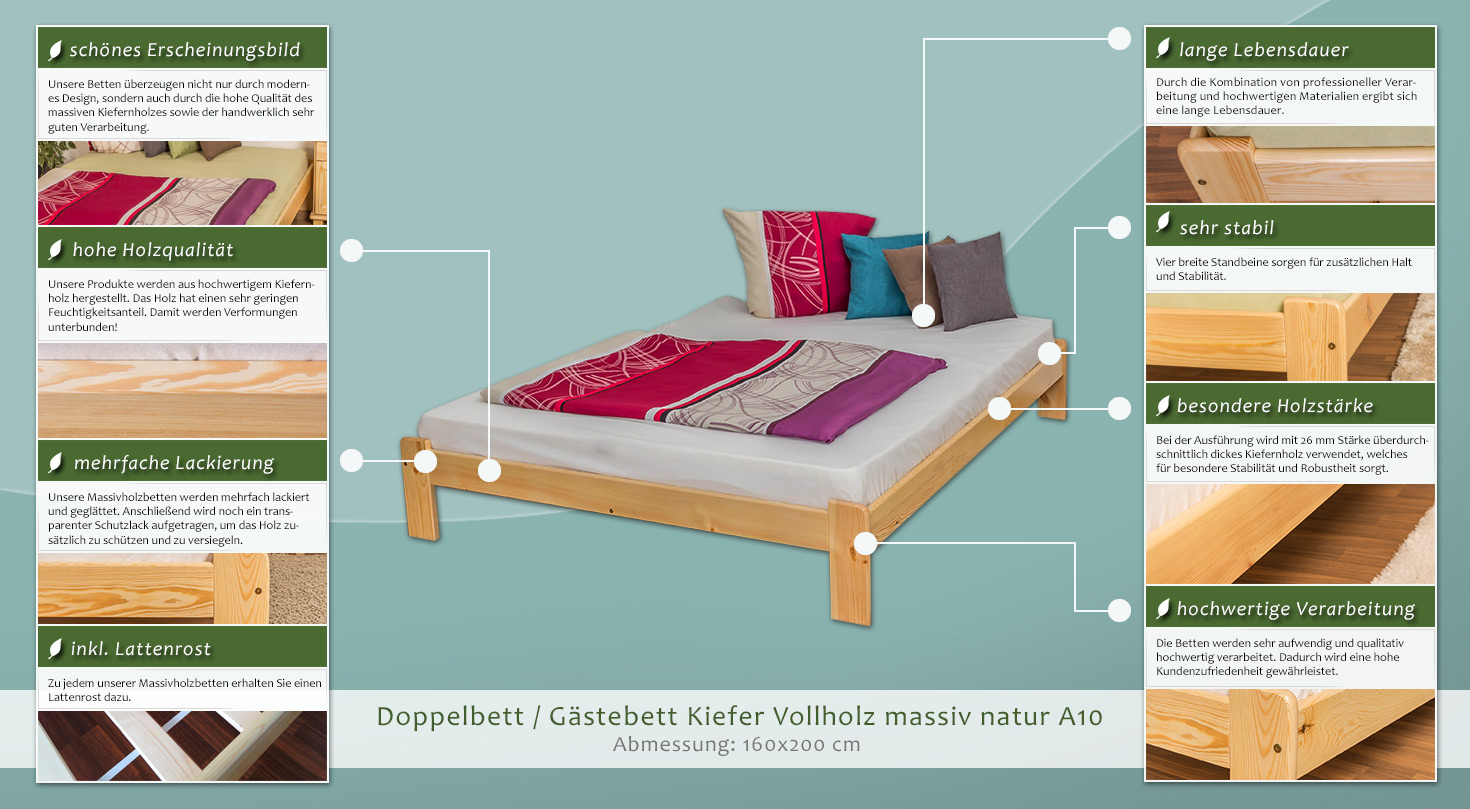 bett kiefer massiv 160 x 200 cm natur h he cm 33 matratzenma e b x l cm 160 x 200. Black Bedroom Furniture Sets. Home Design Ideas