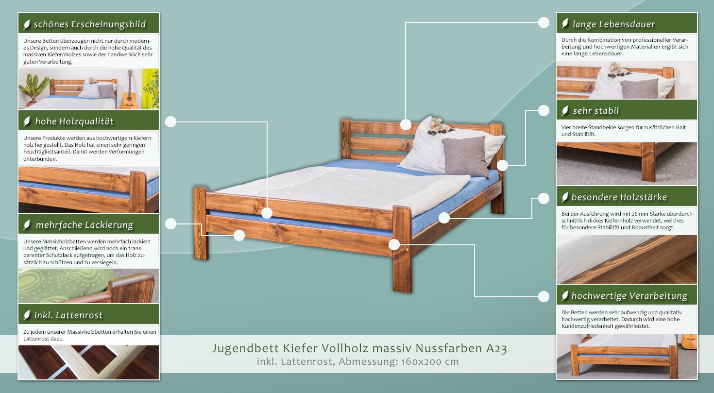 massivholz bettgestell kiefer 160 x 200 cm nuss h he cm 82 50 l nge tiefe cm 205 breite. Black Bedroom Furniture Sets. Home Design Ideas