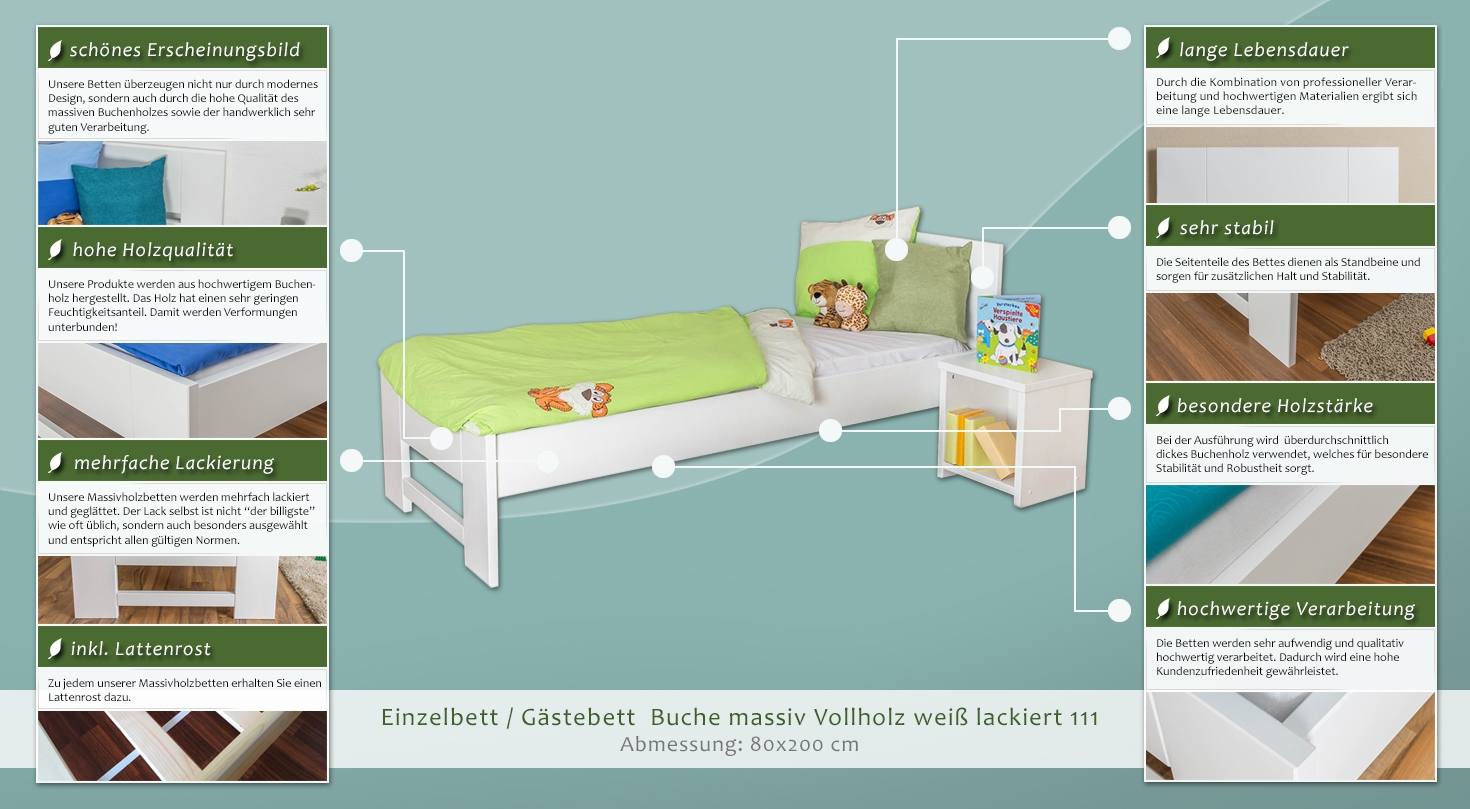 einzelbett g stebett buche massiv vollholz wei lackiert 111 inkl lattenrost abmessung 80. Black Bedroom Furniture Sets. Home Design Ideas