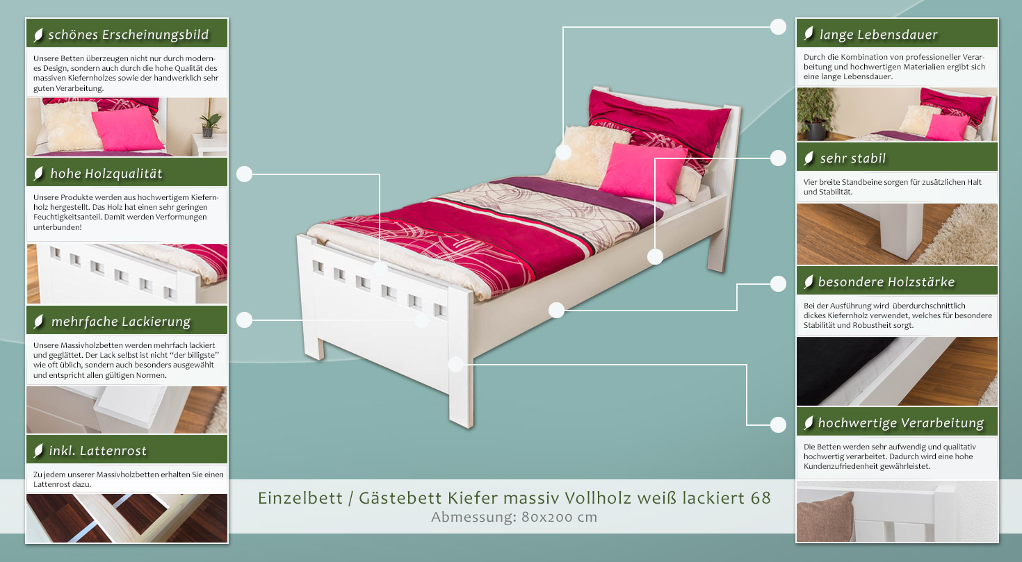 einzelbett g stebett kiefer massiv vollholz wei 68 inkl lattenrost abmessung 80 x 200 cm. Black Bedroom Furniture Sets. Home Design Ideas