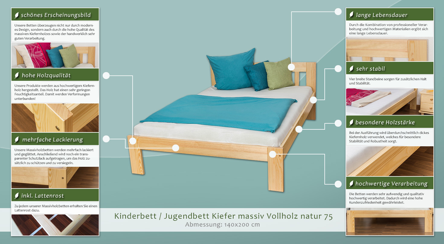 kinderbett jugendbett kiefer massiv vollholz natur 75 inkl lattenrost abmessung 140 x 200 cm. Black Bedroom Furniture Sets. Home Design Ideas