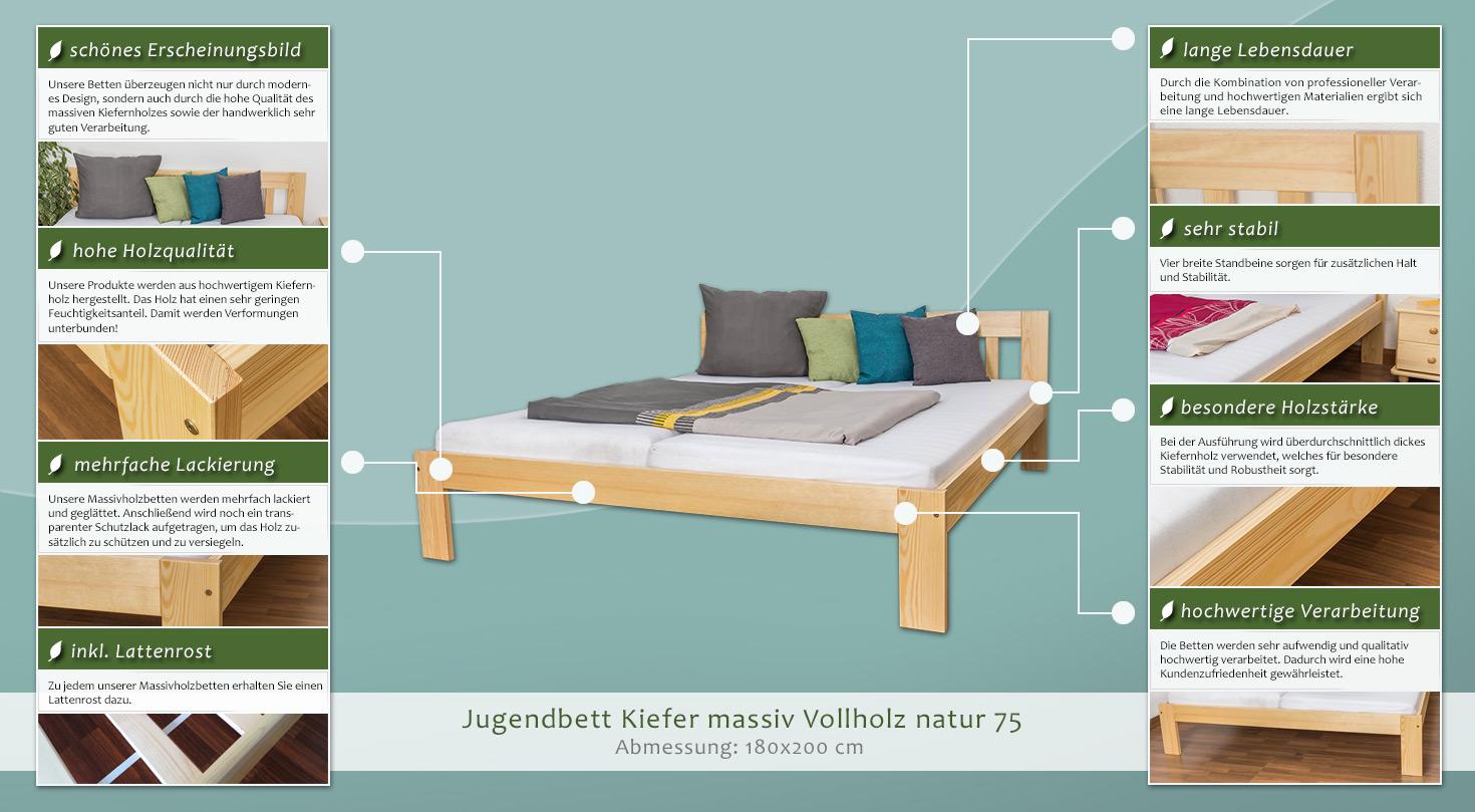 holzbett 180 x 200 cm kiefer massiv natur mit lattenrost h he cm 77 l nge tiefe cm 206. Black Bedroom Furniture Sets. Home Design Ideas