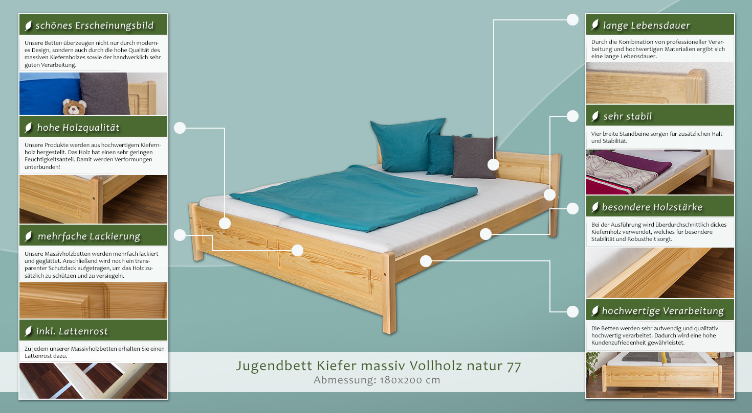 massivholzbett kiefer 180 x 200 cm natur h he cm 68 l nge tiefe cm 210 breite cm 188. Black Bedroom Furniture Sets. Home Design Ideas