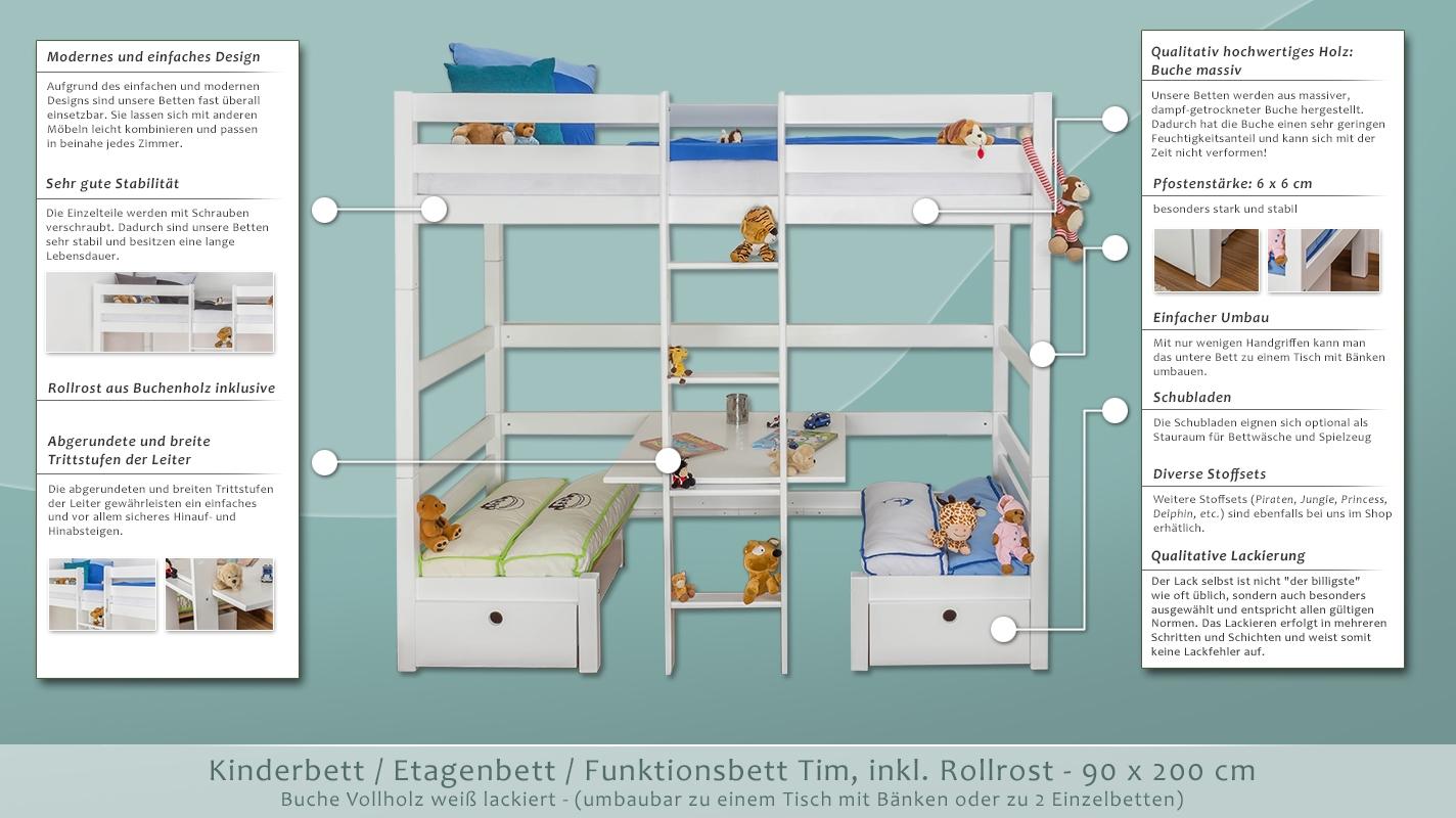 kinderbett etagenbett funktionsbett tim umbaubar zu einem tisch mit b nken oder zu 2. Black Bedroom Furniture Sets. Home Design Ideas