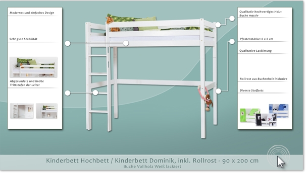 hochbett kinderbett dominik buche vollholz massiv wei lackiert inkl rollrost 90 x 200 cm. Black Bedroom Furniture Sets. Home Design Ideas