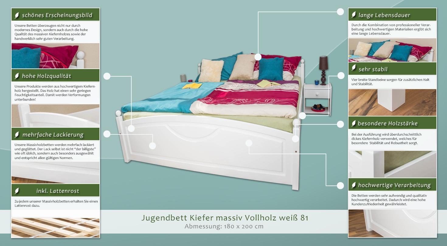 kiefer bettgestell 180 x 200 cm wei h he cm 75 l nge tiefe cm 212 breite cm 188. Black Bedroom Furniture Sets. Home Design Ideas