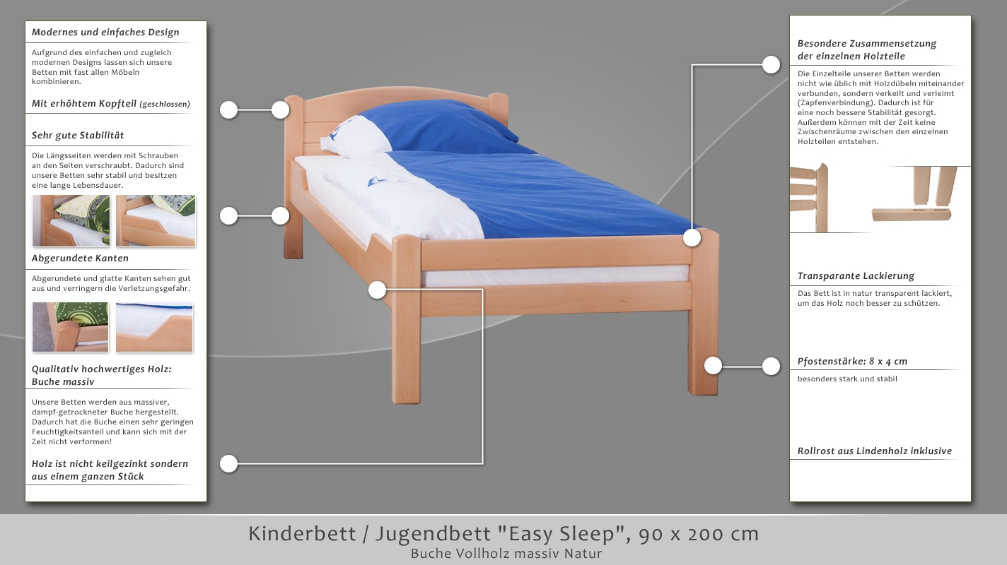 kinderbett jugendbett easy sleep k1 voll 90 x 200 buche vollholz massiv natur. Black Bedroom Furniture Sets. Home Design Ideas