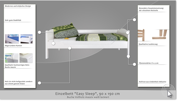 einzelbett g stebett easy sleep k1 s voll 90 x 190 cm buche vollholz massiv wei lackiert. Black Bedroom Furniture Sets. Home Design Ideas