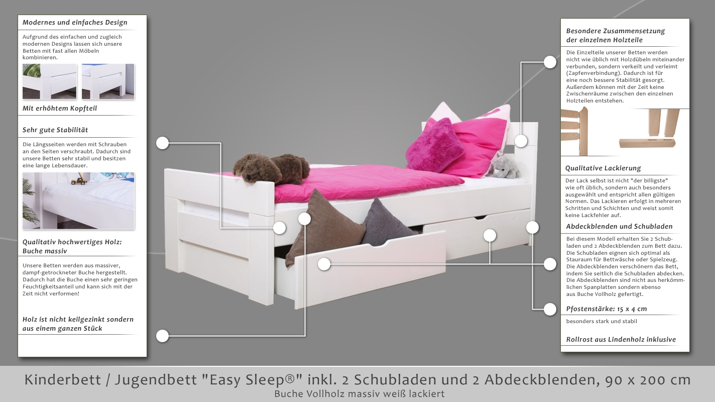 kinderbett jugendbett easy sleep k2 inkl 2 schubladen und 2 abdeckblenden 90 x 200 cm. Black Bedroom Furniture Sets. Home Design Ideas
