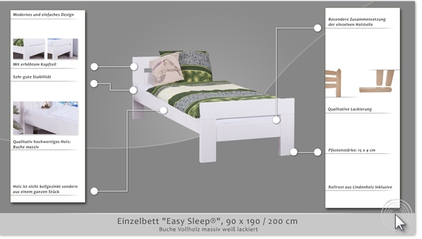 einzelbett easy sleep k2 90 x 190 cm buche vollholz massiv wei lackiert. Black Bedroom Furniture Sets. Home Design Ideas