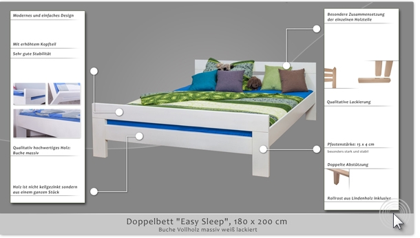 doppelbett easy sleep k6 180 x 200 cm buche vollholz massiv wei lackiert. Black Bedroom Furniture Sets. Home Design Ideas