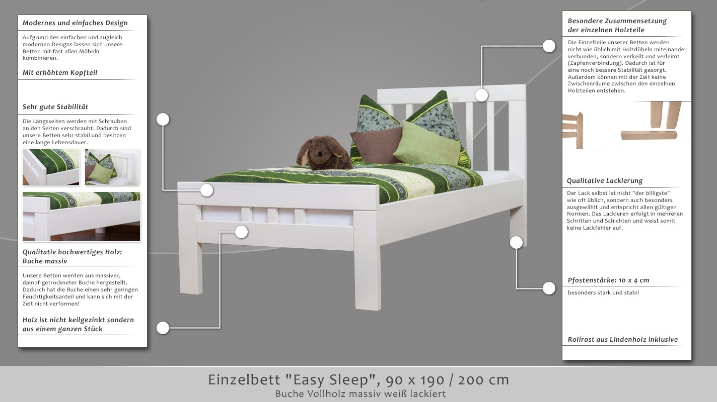 einzelbett easy sleep k8 90 x 200 cm buche vollholz massiv wei lackiert. Black Bedroom Furniture Sets. Home Design Ideas