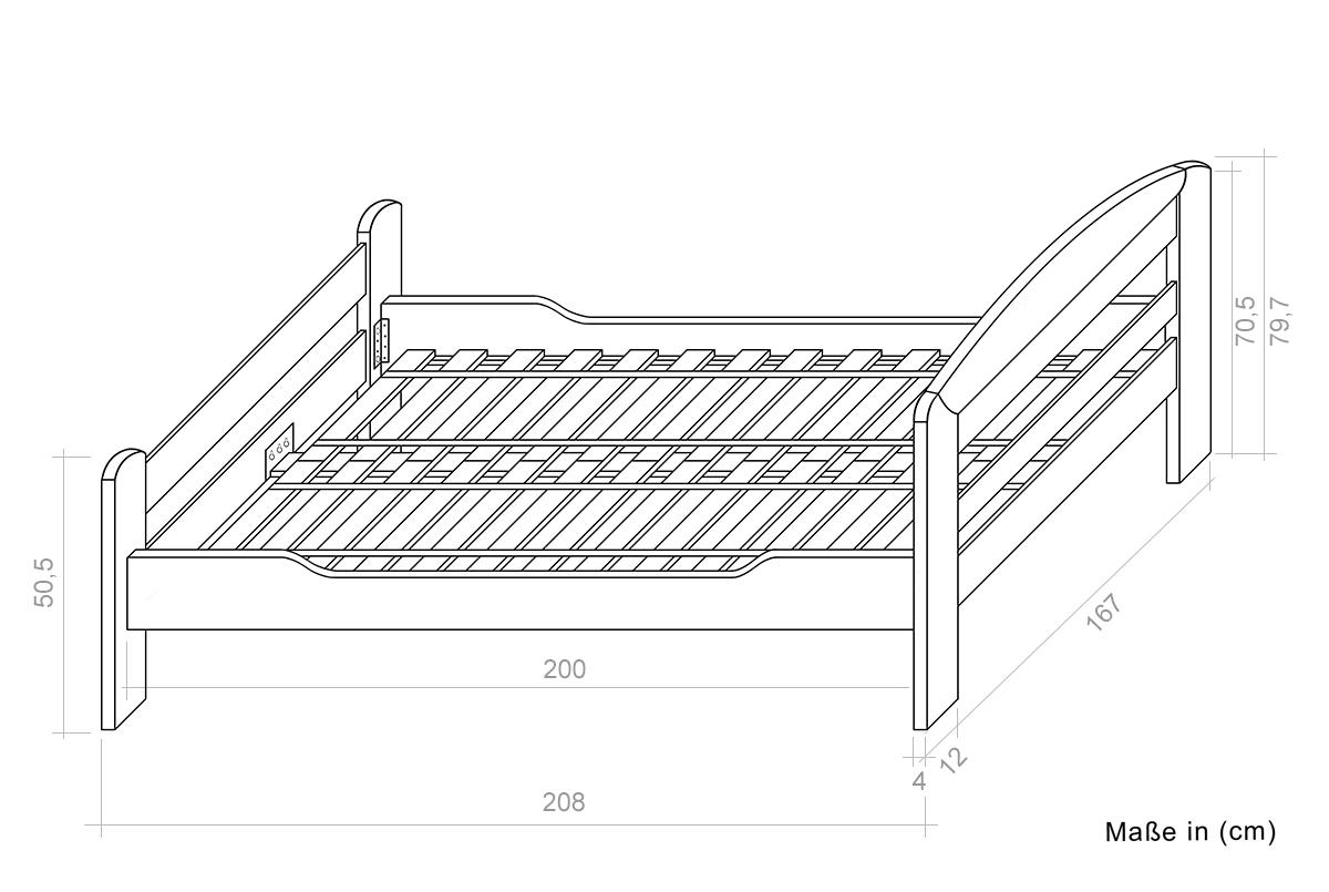 bett 160 x 200 cm buche dunkelbraun mit lattenrost h he. Black Bedroom Furniture Sets. Home Design Ideas