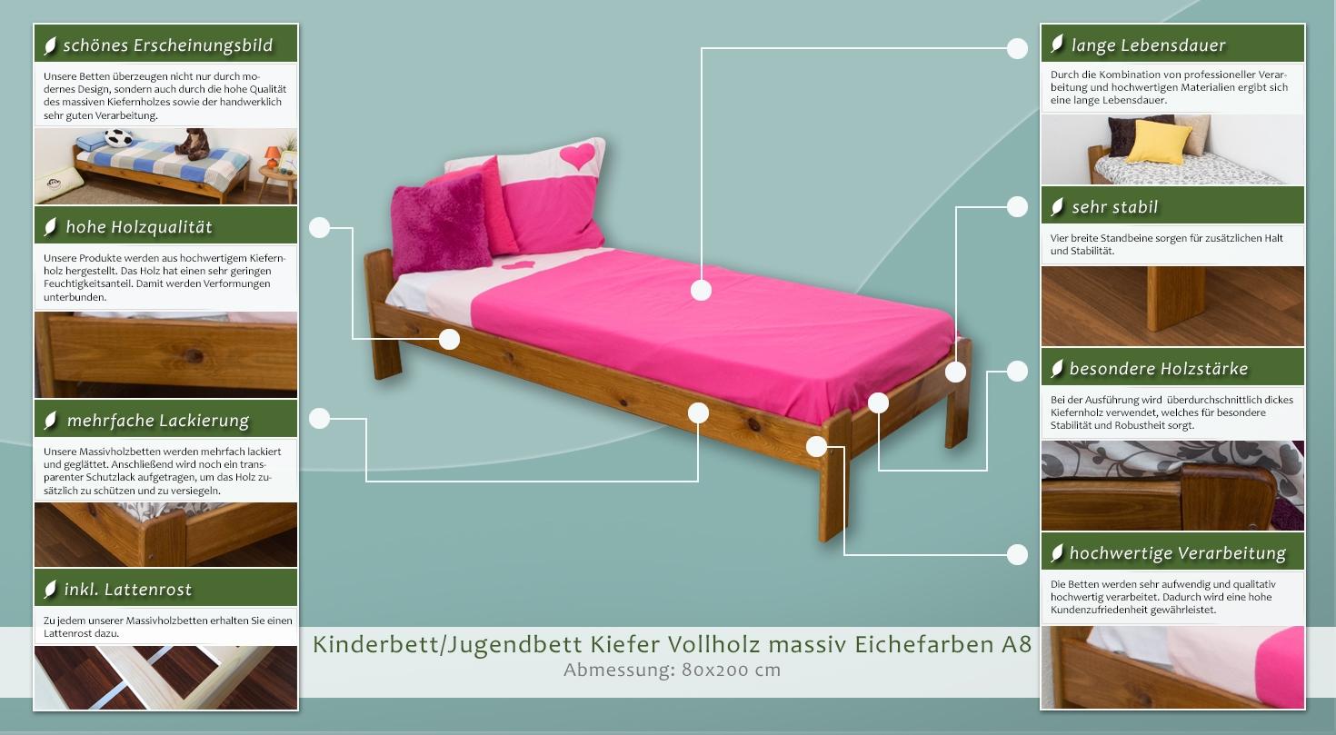 kinderbett jugendbett kiefer vollholz massiv eichefarben. Black Bedroom Furniture Sets. Home Design Ideas