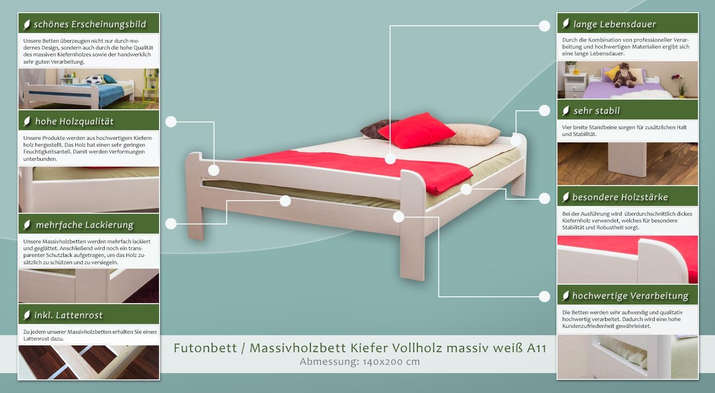 bett 140 x 200 cm kiefer massiv wei h he cm 50 l nge tiefe cm 206 breite cm 148. Black Bedroom Furniture Sets. Home Design Ideas