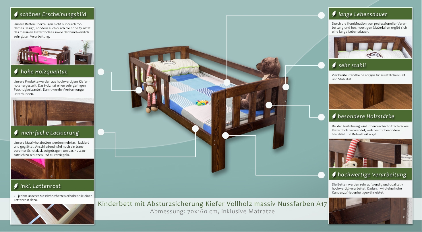 kinderbett mit absturzsicherung kiefer vollholz massiv nussfarben a17 inkl lattenrost. Black Bedroom Furniture Sets. Home Design Ideas