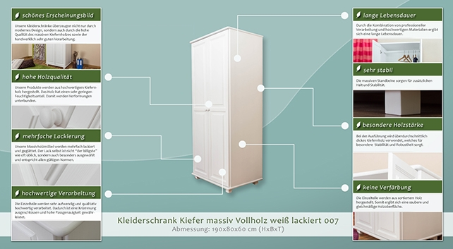 massivholz kleiderschrank farbe wei 190x80x60 cm t ren. Black Bedroom Furniture Sets. Home Design Ideas