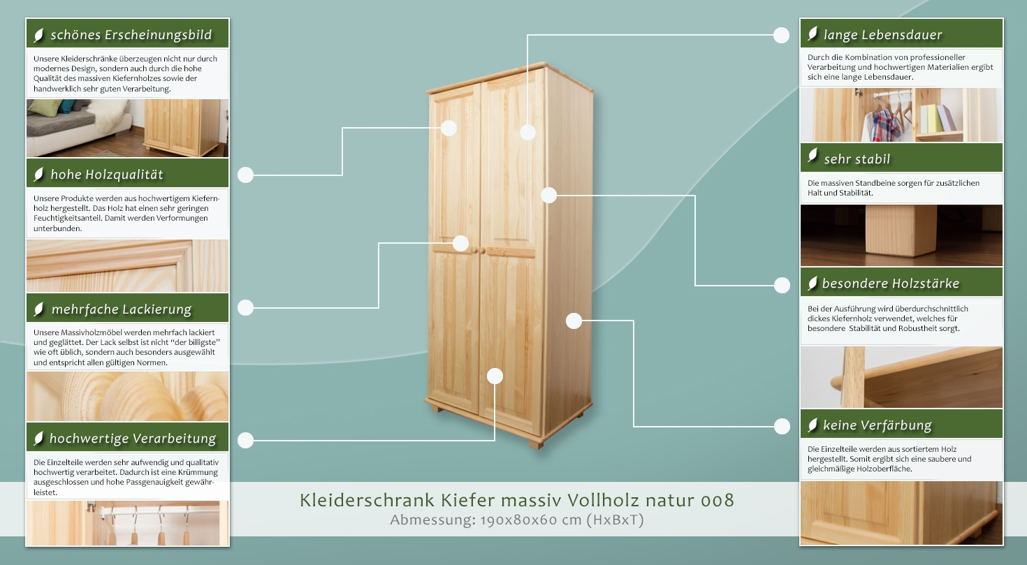 massivholz schrank farbe natur 190x80x60 cm t ren 2 h he cm 190 l nge tiefe cm 60. Black Bedroom Furniture Sets. Home Design Ideas