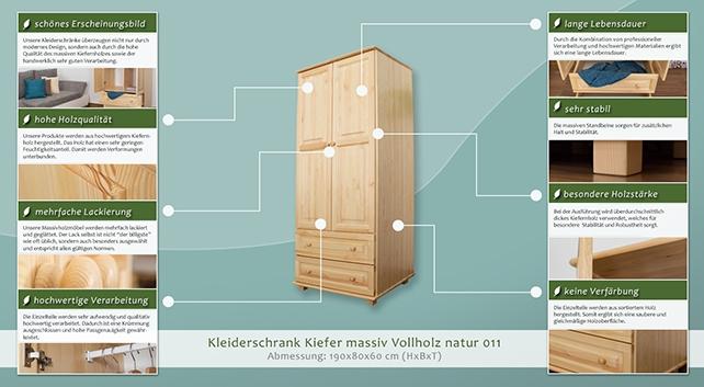 kleiderschrank 80 cm breit farbe natur massivholz t ren 2 h he cm 190 l nge tiefe cm. Black Bedroom Furniture Sets. Home Design Ideas