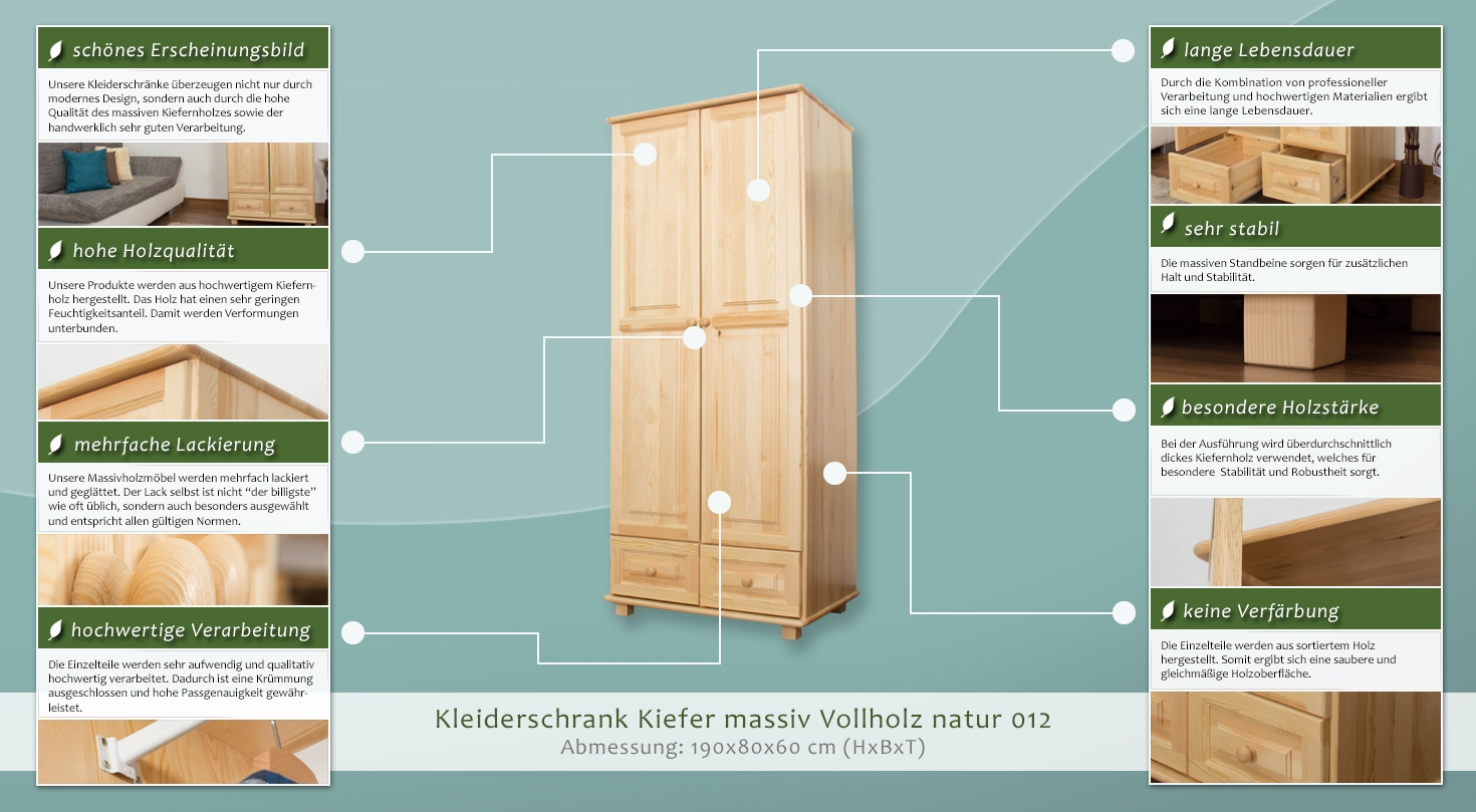 kleiderschrank t ren 2 h he cm 190 l nge tiefe cm. Black Bedroom Furniture Sets. Home Design Ideas