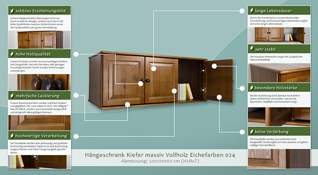 h ngeschrank kiefer vollholz massiv eichefarben 024 abmessung 50 x 120 x 60 cm h x b x t. Black Bedroom Furniture Sets. Home Design Ideas