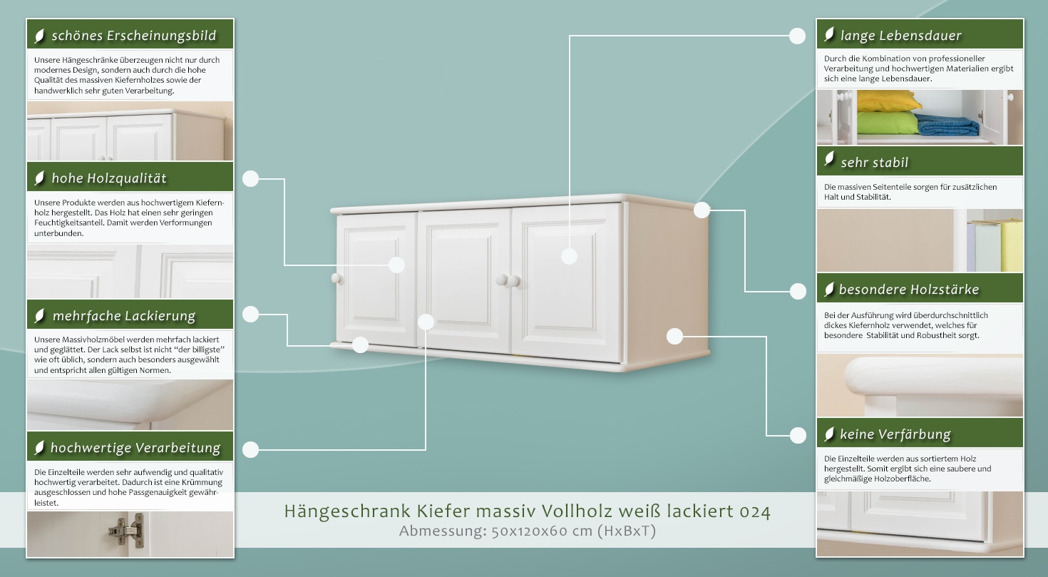 h ngeschrank kiefer vollholz massiv wei lackiert 024 abmessung 50 x 120 x 60 cm h x b x t. Black Bedroom Furniture Sets. Home Design Ideas