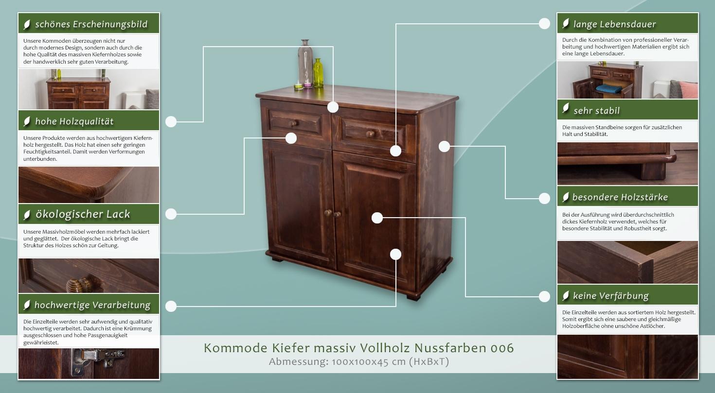 kommode kiefer massiv vollholz nussfarben 006 abmessung 100 x 100 x 45 cm h x b x t. Black Bedroom Furniture Sets. Home Design Ideas