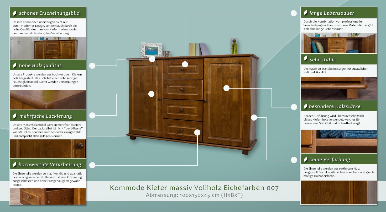 kommode kiefer massiv vollholz eichefarben 007 abmessung 100 x 150 x 45 cm h x b x t. Black Bedroom Furniture Sets. Home Design Ideas