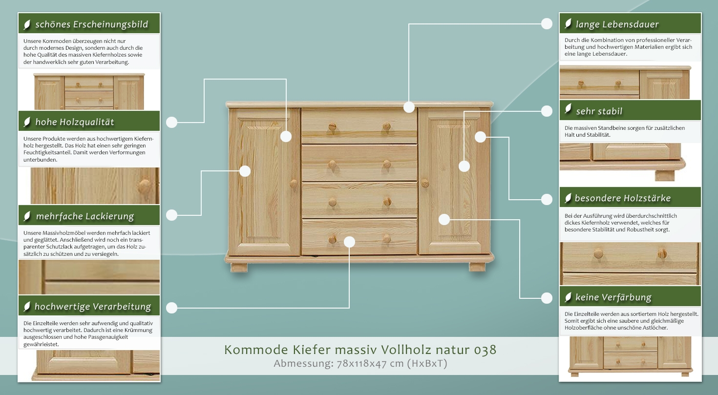dielenschrank niedrig kommode flurschrank 118 cm breit t ren 2 h he cm 78 l nge tiefe. Black Bedroom Furniture Sets. Home Design Ideas