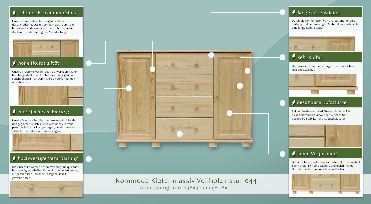 Kommode massiv vollholz natur 42 abmessung 100 x 136 x for Kommode 100 x 60
