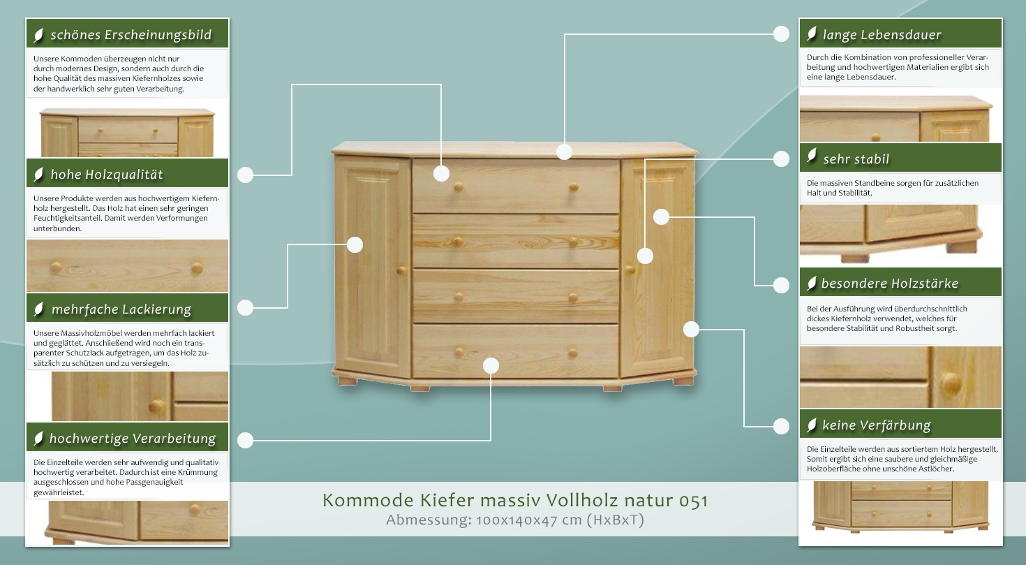 Kommode massiv vollholz natur 50 abmessung 100 x 140 x for Kommode 100 x 60