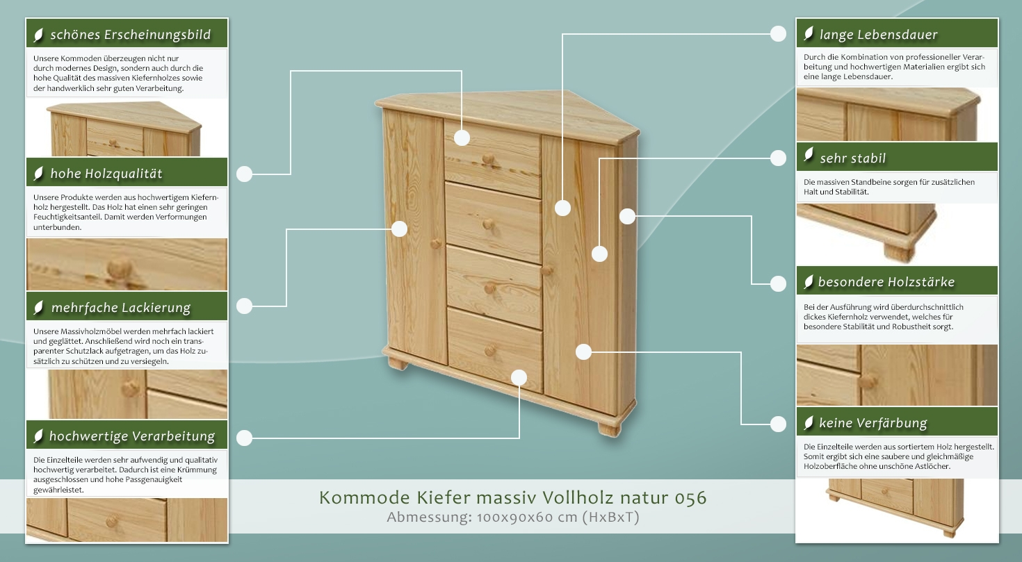 30 x 20 x 16 cm Kiefernholz EMAKO CB4380420 N/ähk/ästchen