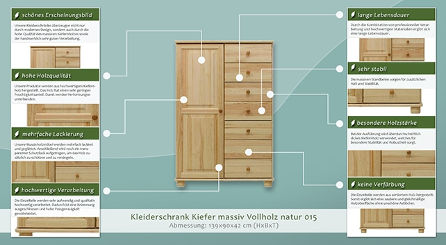 massivholz kleiderschrank farbe natur 139x90x42 cm t ren 1 h he cm 139 l nge tiefe cm. Black Bedroom Furniture Sets. Home Design Ideas