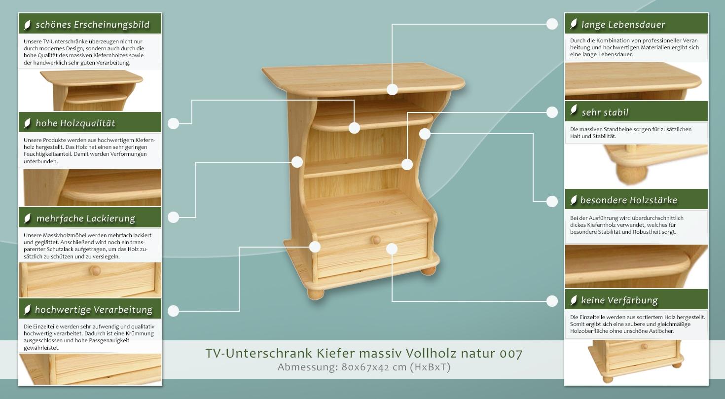 tv m bel tv schrank massivholz farbe natur 80x67x42 cm h he cm 80 l nge tiefe cm 42. Black Bedroom Furniture Sets. Home Design Ideas