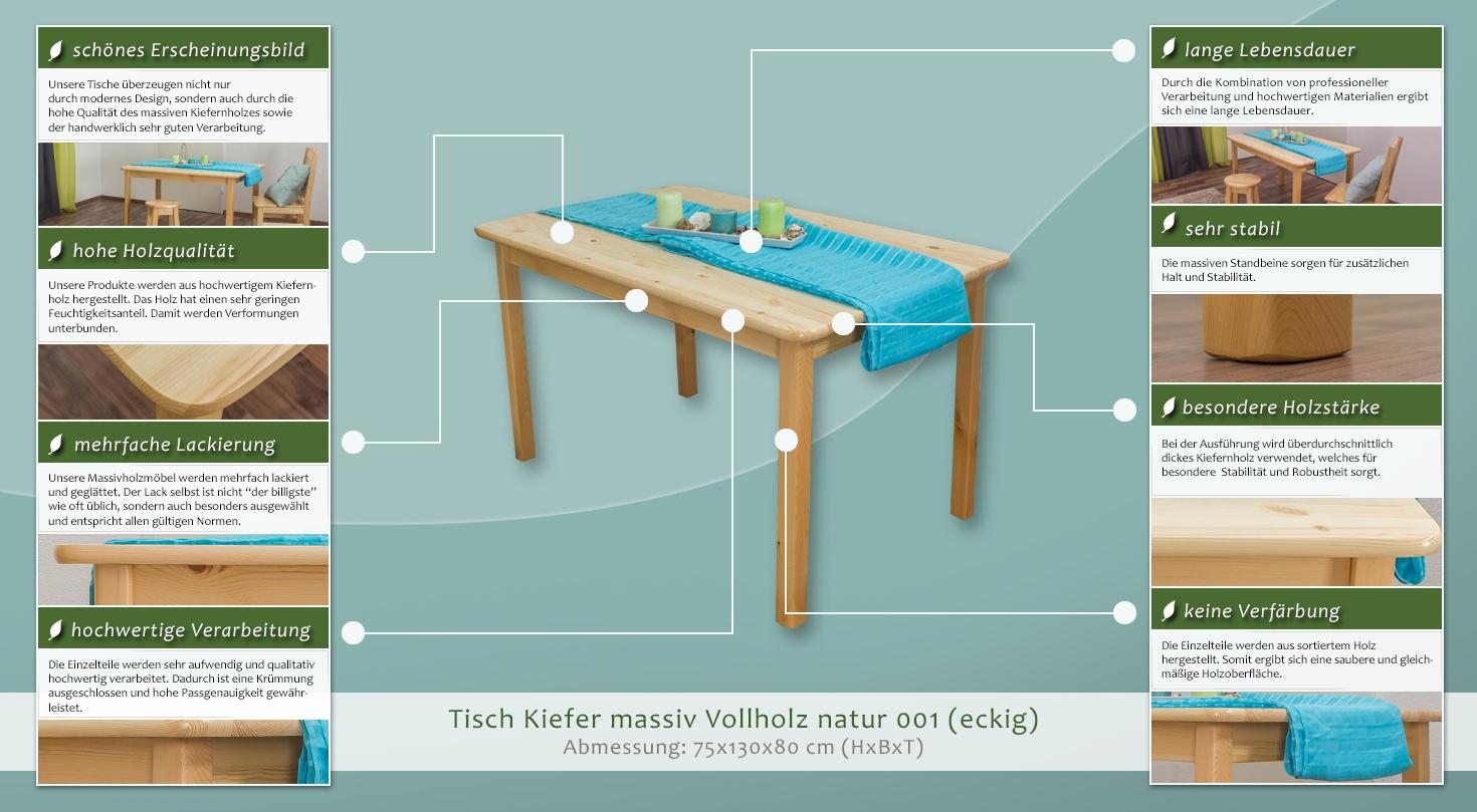 Tisch Kiefer massiv Vollholz natur 001 – Abmessung 75 x 130 x 80 cm ...