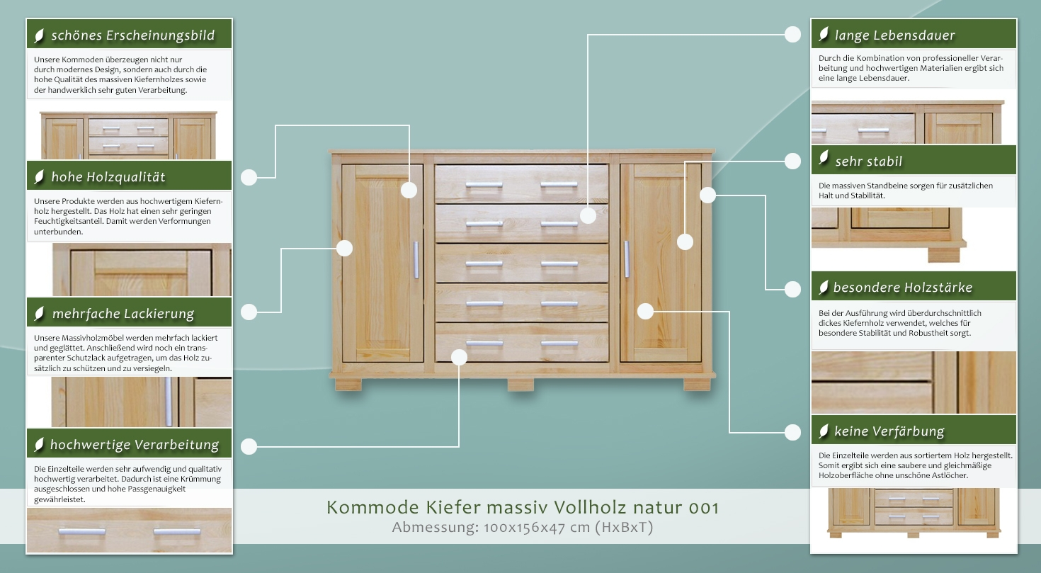 Kommode kiefer massiv vollholz natur 001 abmessung 100 x for Kommode 140 x 100