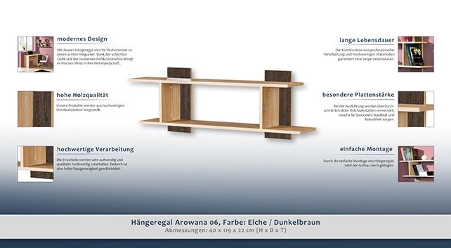 h ngeregal wandregal b cherregal 119 cm breit farbe dunkelbraun h he cm 40 l nge tiefe. Black Bedroom Furniture Sets. Home Design Ideas