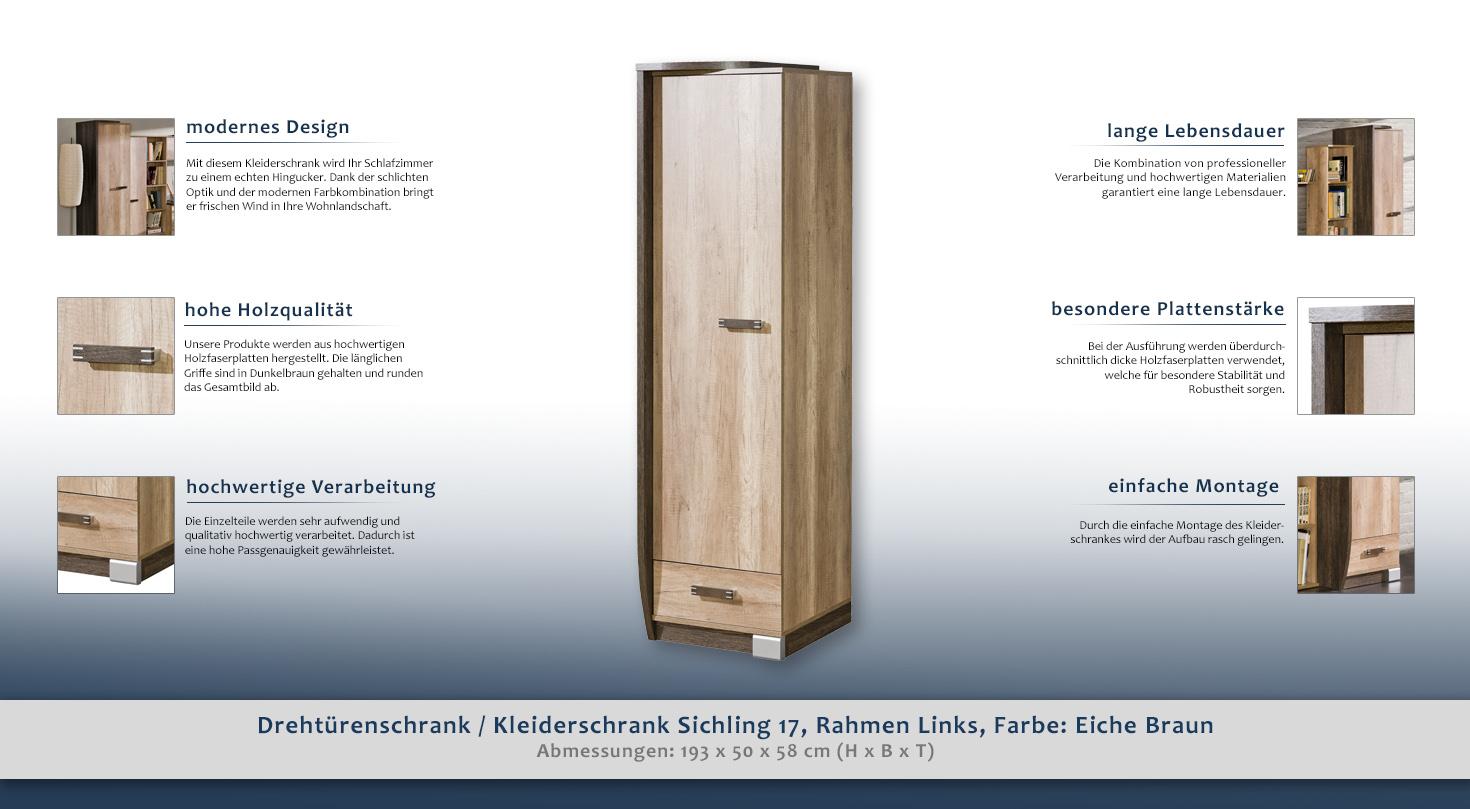 vorzimmerschrank farbe braun 193x50x58 cm t ren 1 h he cm 193 l nge tiefe cm 58 breite. Black Bedroom Furniture Sets. Home Design Ideas