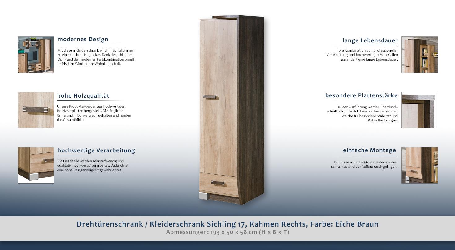 kleiderschrank t ren 1 h he cm 193 l nge tiefe cm. Black Bedroom Furniture Sets. Home Design Ideas