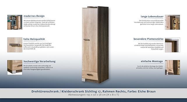 garderobenschrank farbe braun 193x50x58 cm t ren 1 h he cm 193 l nge tiefe cm 58. Black Bedroom Furniture Sets. Home Design Ideas