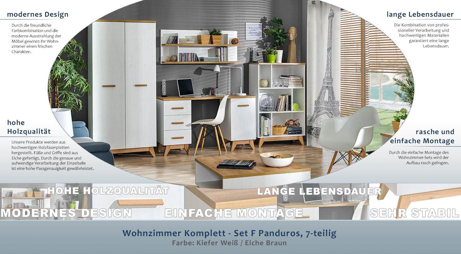 Wohnzimmer Komplett - Set F Panduros, 7-teilig, Farbe: Kiefer Weiß ...